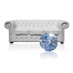 Sofa Chesterfield Classic Z Kryształkami Skóra 3 os.