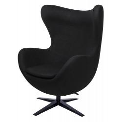 Fotel Inspirowany Projektem Egg Szeroki (Tkanina Wełniana) czarna podstawa