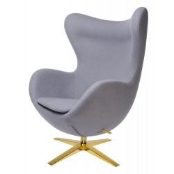 Fotel Inspirowany Projektem Egg Szeroki (Tkanina Wełniana) złota podstawa