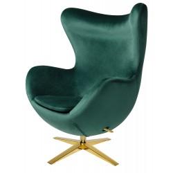 Fotel Inspirowany Projektem Egg Szeroki Velvet (Tkanina Welur) złota podstawa