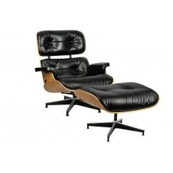 Fotel Bauhaus Lounge HM Soft Premium Szeroki z podnóżkiem - sklejka orzech