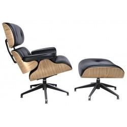 Fotel Bauhaus Lounge z podnóżkiem - sklejka jesion