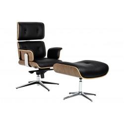 Fotel biurowy Bauhaus Lounge Business z podnóżkiem - sklejka orzech