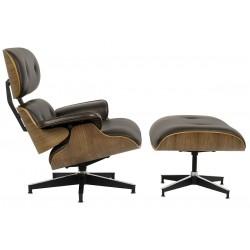 Fotel Bauhaus Lounge HM Premium Szeroki z podnóżkiem - sklejka orzech