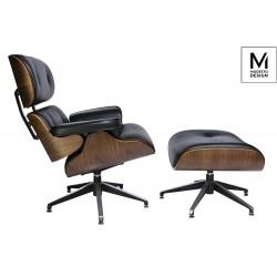 Fotel Bauhaus MODESTO LOUNGE z podnóżkiem- sklejka orzech, skóra ekologiczna