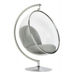 Fotel glamour bubble Stand chrom - poduszka wełna