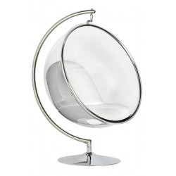 Fotel glamour bubble Stand chrom - poduszka ekoskóra