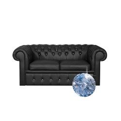 Sofa Chesterfield Classic z kryształkami skóra Plus rozkładana