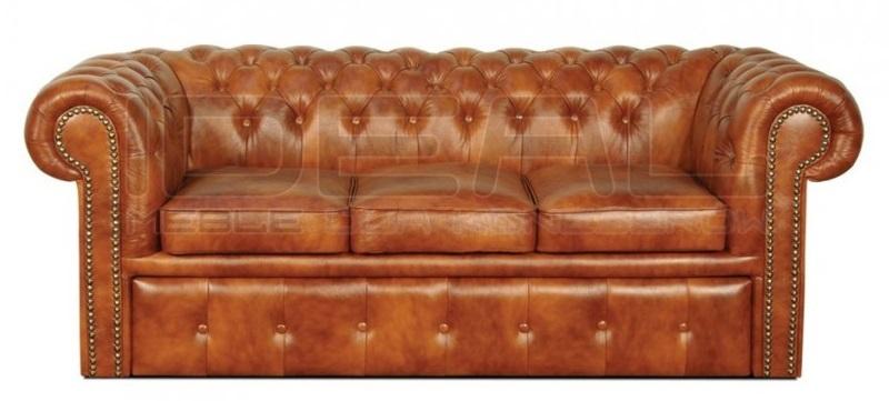 Sofa Chesterfield Classic rozkładana w skórze naturalnej